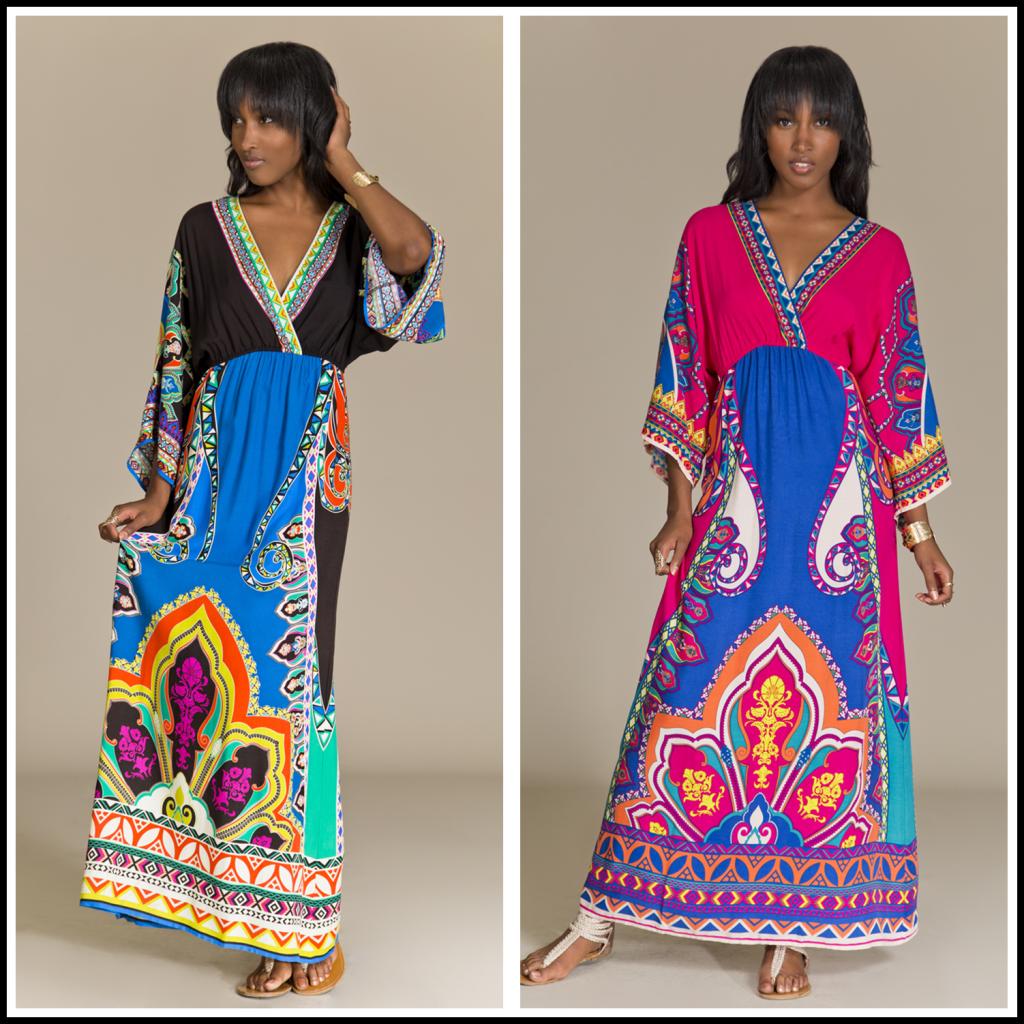 Boho kimono Long Colorful Tribal Print Kimono Maxi Dress-inDresses from Womenu0026#39;s Clothing ...