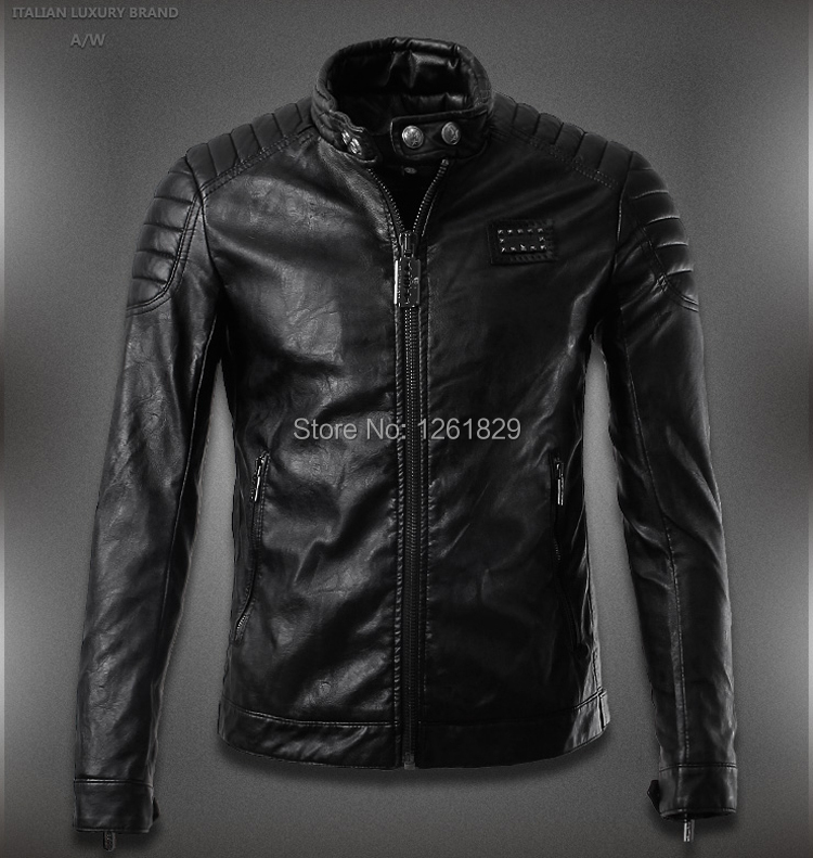 Jaqueta De Couro Masculina Real Direct Selling Solid Slim Fit Quilted Washed Genuine Motorcycle Leather Jacket Winter 2014 Men(China (Mainland))
