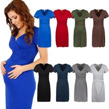 Mutterschaft frauen kleid tunika kurzarm v- Hals dehnbar bodycon schwanger jersey-kleider vestidos plus size(China (Mainland))