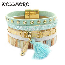 Buy leather bracelet 6 color bracelets summer charm bracelets Bohemian bracelets&bangles women Christmas gift wholesale B1627 for $2.89 in AliExpress store