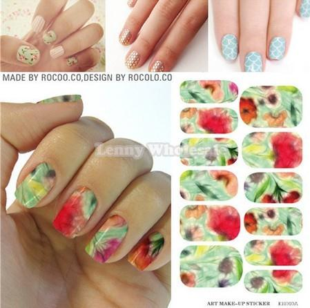 KH010A/ sticker on nails Unique purple flower design,3d nail stickers water transfer nail foil decal sticker decoration supplies(China (Mainland))