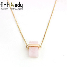 Artilady rose quartz pendant necklace vintage europe fine jewelry rose quartz for women jewelry pendnat necklace