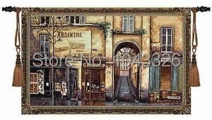 Средневековый кафе во второй половине дня старая улица langscape украшения дома 139 * 87 см обюссон стене висит гобелен PT-24