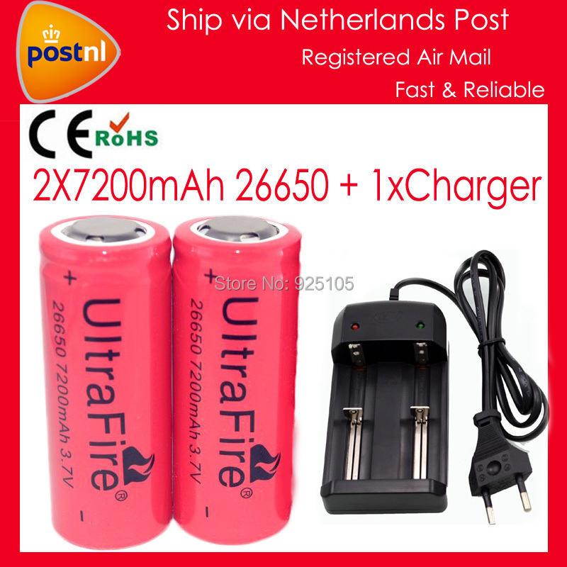 2x 7200mAh 26650 Battery 3.7V Li-ion Rechargeable Battery UltraFire 26650 Flashlight Batteries+1 x Charger Lithium Battery 26650(China (Mainland))