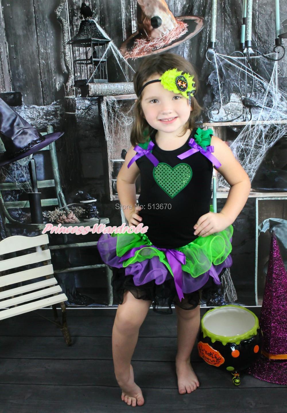 Halloween Bling Green Heart Black Top Baby Girl Purple Petal Pettiskirt NB-8Year MAMH125(Hong Kong)