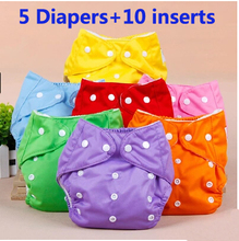 Hot wholesale 5 diapers+10 inserts Baby Adjustable Diaper Washable Reusable Cloth Nappy Diaper snap Waterproof(China (Mainland))