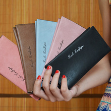 2016 solid color Nubuck Leather women multi-card wallet Lightweight hand take lady Long Thin Coin Pocket Card Holder Clutch Bags