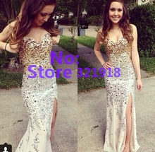 Luxury Crystals Sweetheart Mermaid Prom Dresses Long Open Leg Sexy Evening Dress Floor Length Dress