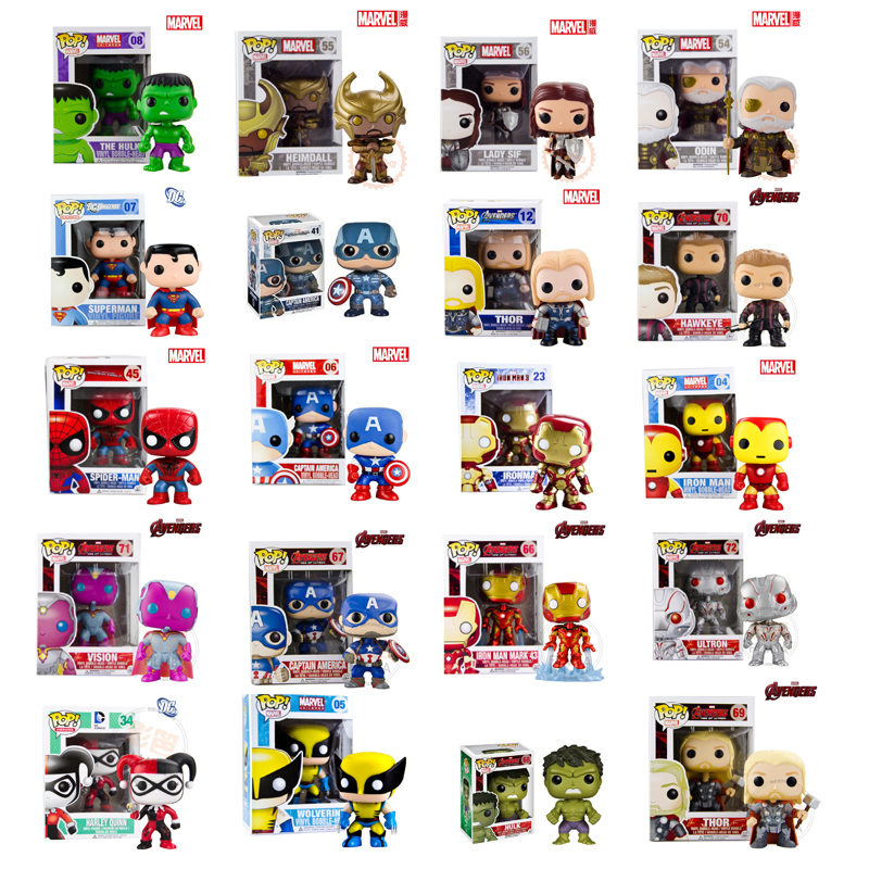 Genuine Brand Funko POP Super hero action figures Toy Captain America Spider-Man Thor iron man Etc. one piece Action Figure toys(China (Mainland))