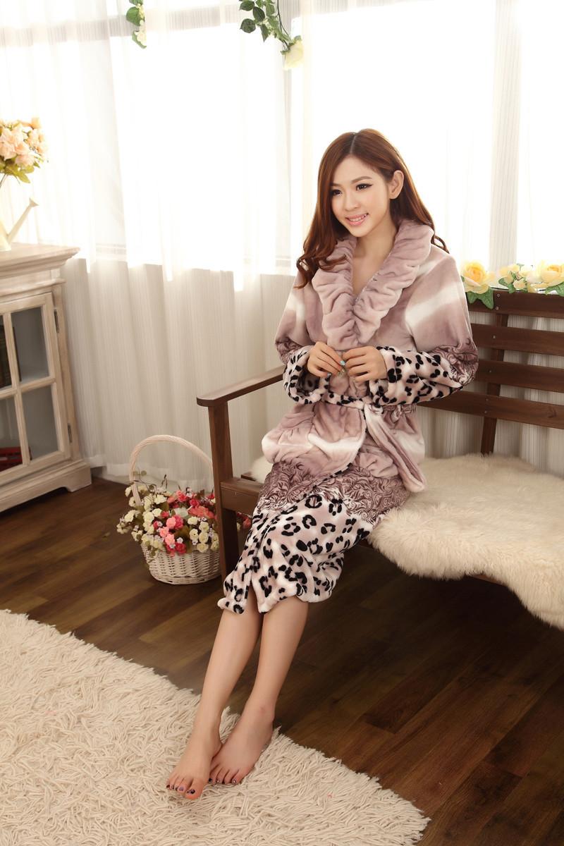 2015 зимние женщин ночная рубашка платье женщин фланелевые леопарда халаты утолщение одежда высокое качество пижама сгущает теплый джемы