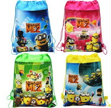 CM420 2015 new  Despicable Me little yellow man drawstring beam port Non-woven children school bags for boys kids Backpack