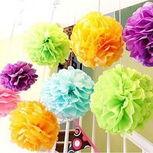 16inch(40cm) Hanging Decoration Paper Products Tissue Pom Poms Paper Flower Balls for Birthday Party Wedding Backdrop(China (Mainland))