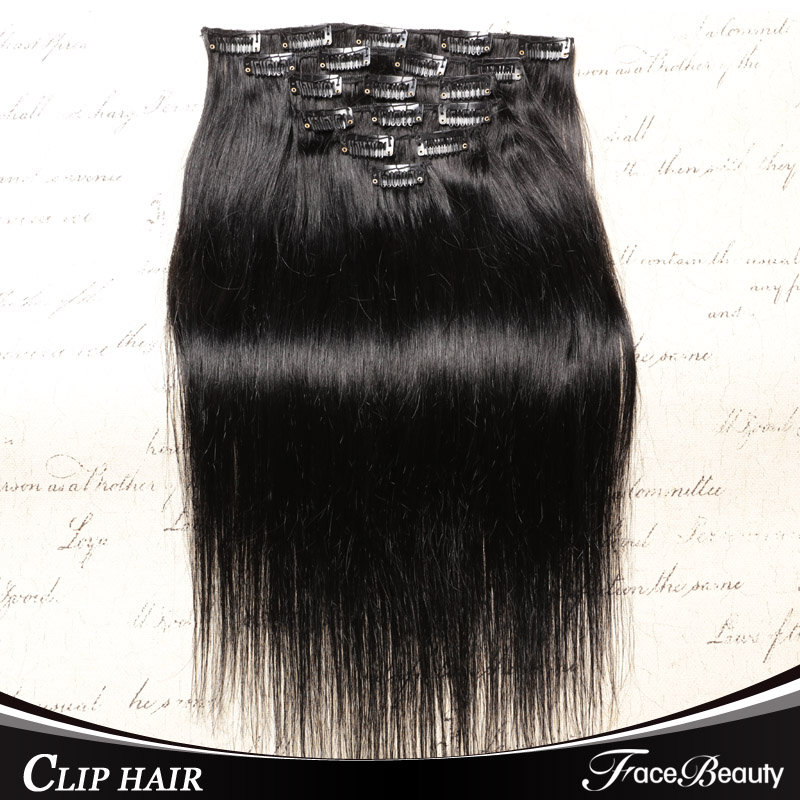Clip In Human Hair Extensions Brazilian Straight Clip In Hair Extensions Natural Human Virgin Hair 6a Grade Free Shipping(China (Mainland))