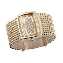New 2016 Japan Movt Women Dress Watch, Diamante Case Gold Silver Band Bracelet Watch, Quartz Wrist Watch