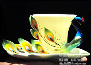 RF01 genuine counter Xuanjin Phoenix bone china coffee cup and saucer enamel porcelain Franz Franz