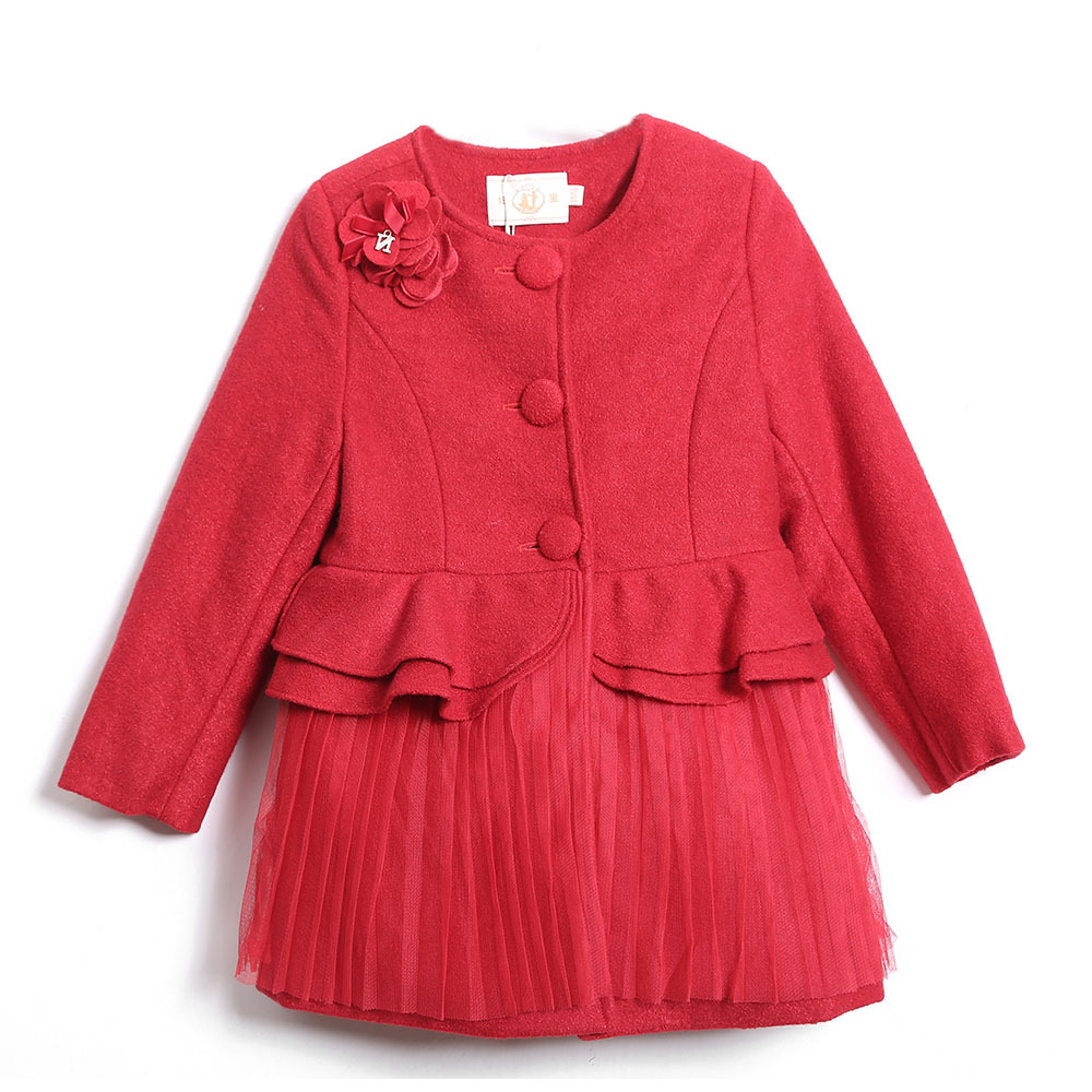 red  O-neck cotton kids winter coat children girl outerwear jacket princess tassel  dress jacket with bow<br><br>Aliexpress