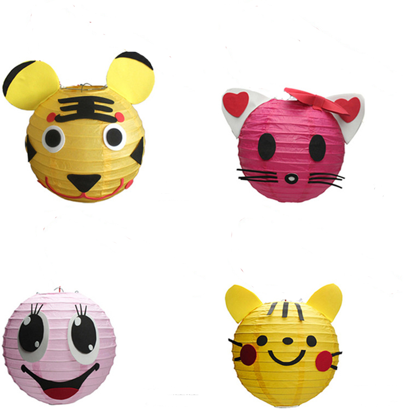 2016 high quality Animal paper lanterns 10pcs/lot kids party decoration lanterns without LED lights and Hand lever(China (Mainland))