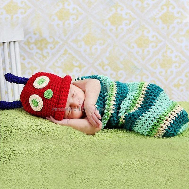 Cute Bug Design Handmade Crochet Baby Beanie Costume Photography Props, Colorful, 390x250mm; 2pcs/set - PandaHall DIY store