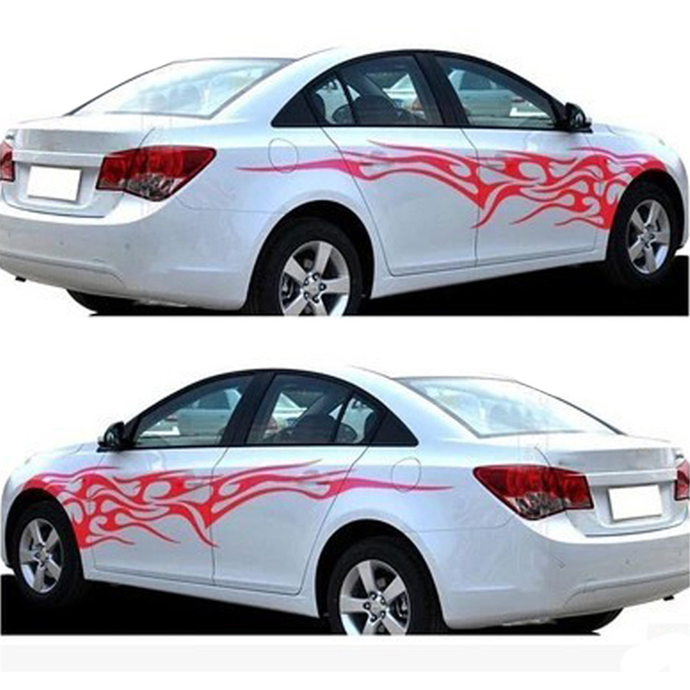 Car full body sticker design - Iztoss 1 Pair Universal Car The Whole Body Sticker Fire Flame Decor Vinyl Decals Auto Truck