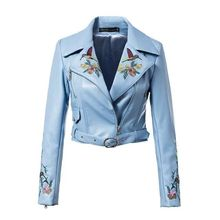 European Style Ebroidery washed Leather Jacket Female Slim motorcycle jacket Sky Blue women basic short coats 72701