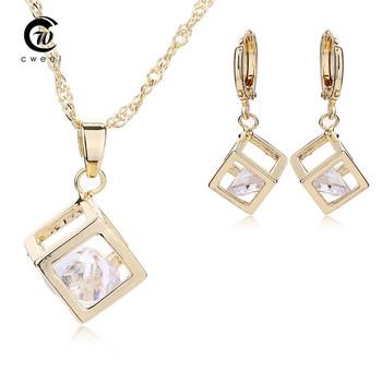 Copper Necklace Drop Earrings For Women Crystal Pendant CZ Diamond Jewelry Sets Bridal Wedding Dress Accessories Wholesale