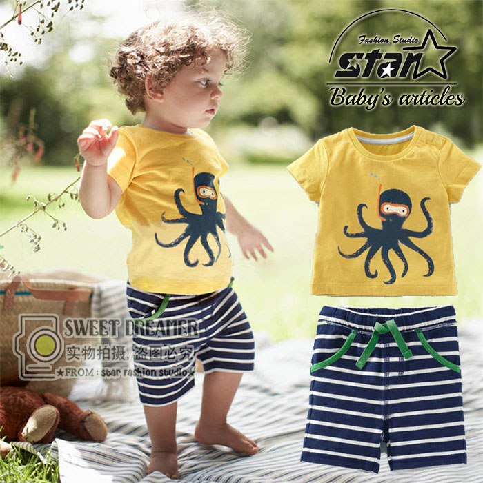 Children's Beach Set Cartoon Octopus Print t-shirt + shorts Suits Boys Clothing Children's Clothes Holiday Wear(China (Mainland))