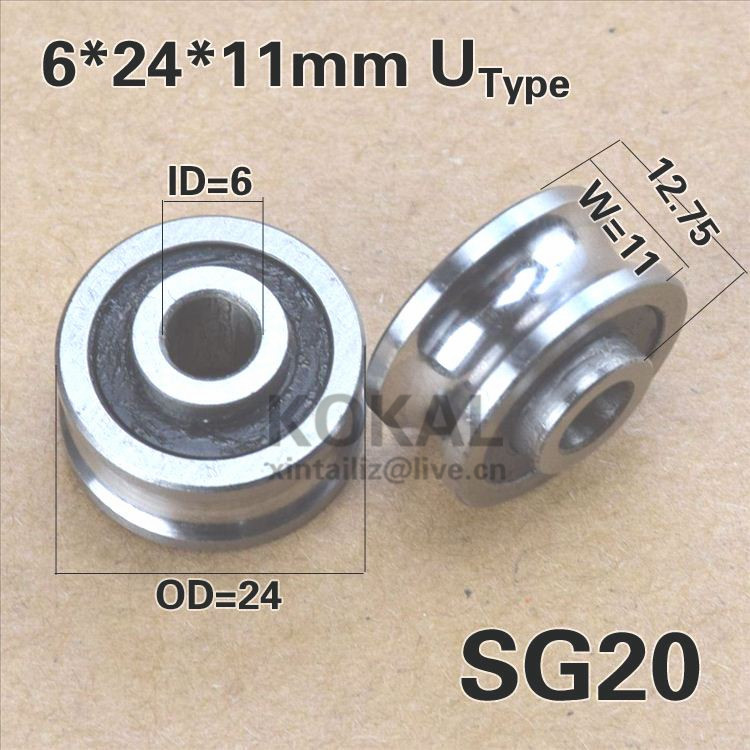 [SG20-P2]10PCS ABEC-5 double row ball bearing wheel for machine SG20-2RS SG6RS INNER 6mm rubber track guide pulley(China (Mainland))