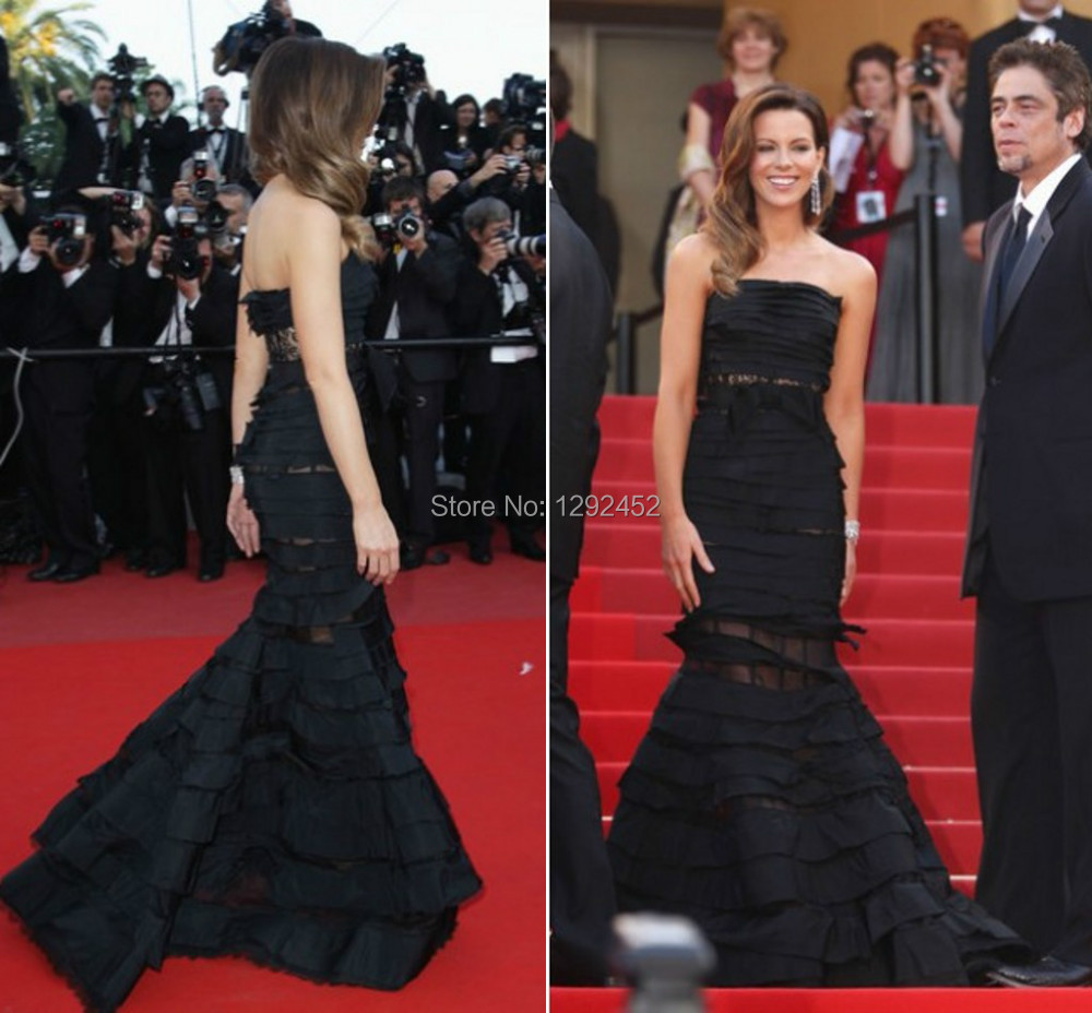 Luxury Kate Beckinsale Black Strapless Cannes Film Celebrity Party Dress Vestidos De Noiva Tiered Mermaid Pageant Evening Gown - newdesignbridaldream store
