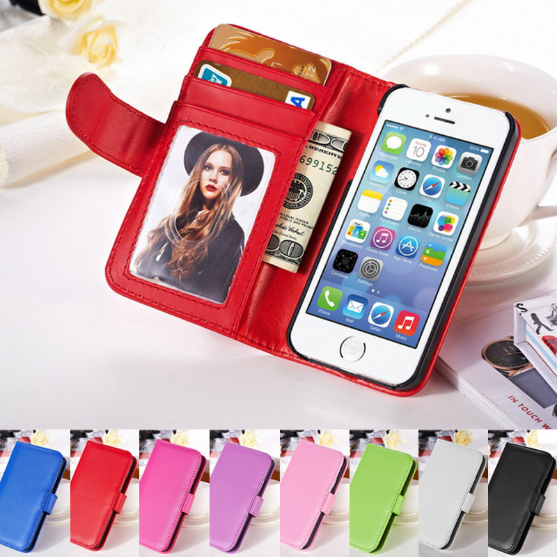 PU Flip Wallet Leather Phone Cases for iPhone 5S Stand With credit card holder photoframe Phone bags Cases for iPhone 5S(Hong Kong)