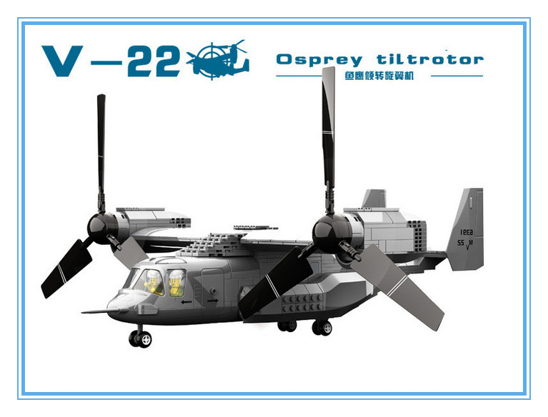 New Arrival Military Army Helicopter Minifigures Block The V22 Osprey Tiltrotor Aircraft Helicopter Bricks Compatible Legoelied(China (Mainland))
