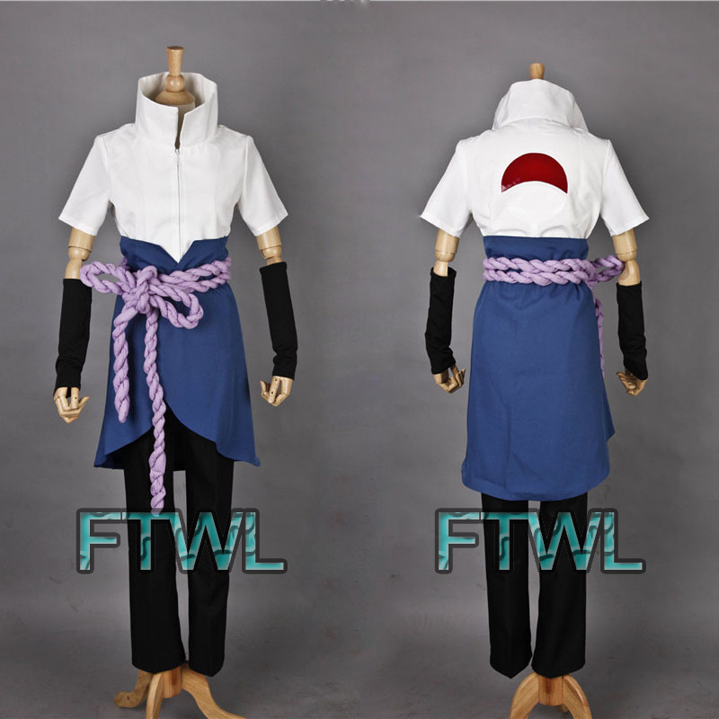 Anime Naruto Shippuden Cosplay Uchiha Sasuke Cosplay Costume Halloween / Masquerade Costumes Any Size(China (Mainland))