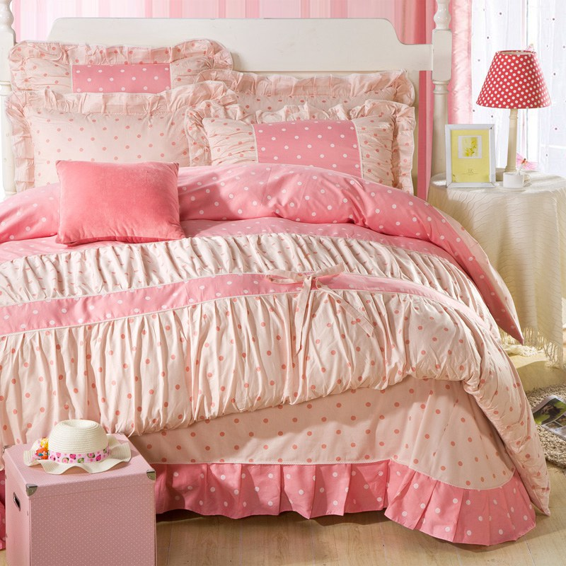 YADIDI 100% Cotton Classic Girls Princess Polka Dot Bedding Sets Bedroom Bed Duvet Cover Twin queen King size comforter set(China (Mainland))