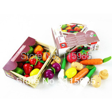 1 box wooden baby kids Pretend Play basket Kitchen Toys fruits&vegetables box play house toys coloful safe wood free shipping(China (Mainland))