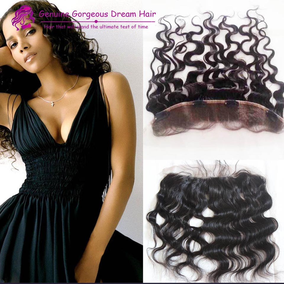 Lace Frontal with clips Brazilian unprocessed virgin hair Black Brazilian body wave lace frontal closure 13x2 with 4 clips<br><br>Aliexpress