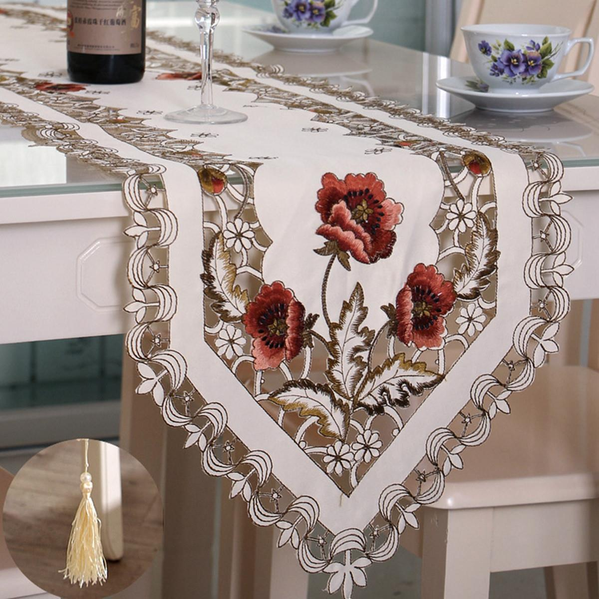 Elegant Polyester Embroidery Table Runner Handmade Embroidered Flower Floral Cutwork Simple Home Table Cloth Covers Runners(China (Mainland))
