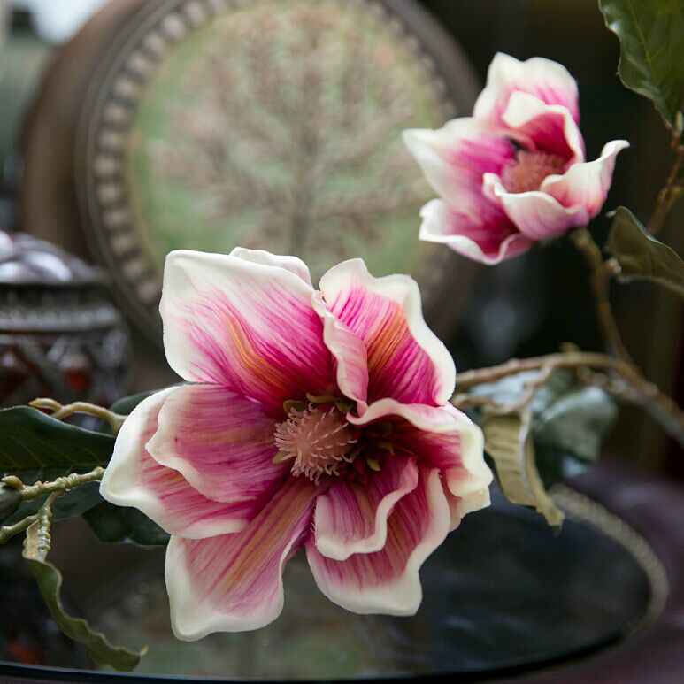 2015 Decoration Simulation Flower Artificial Magnolia Living Room Decorative Home Accessories Able Decorations Floral(China (Mainland))