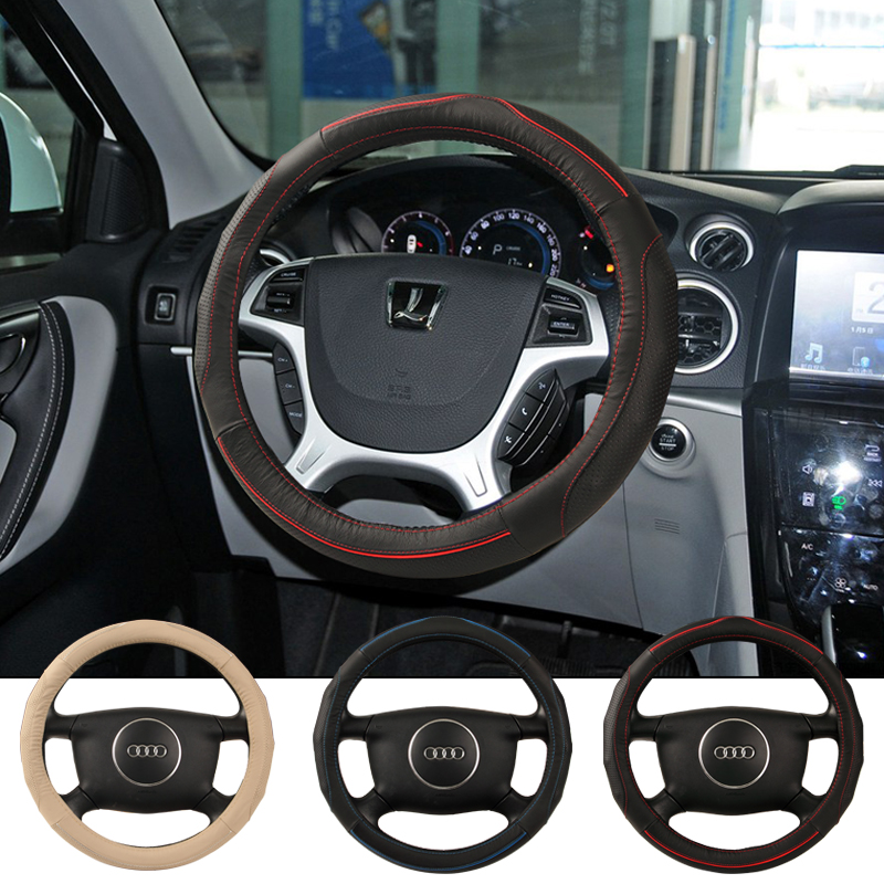 High grade brand top layer Anti-slip Breathable cow leather car steering wheel cover eco-friendly very good hand feel covers(China (Mainland))