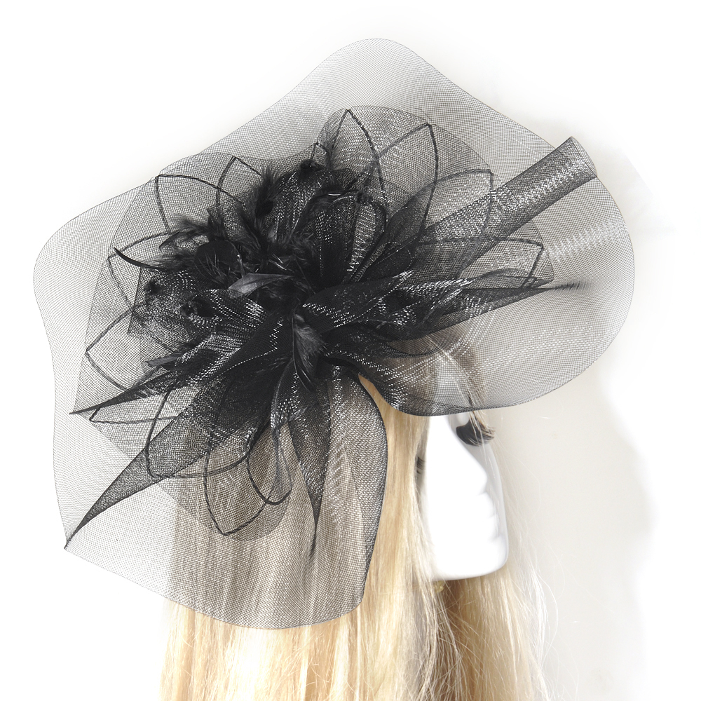 Fashion Women Lady Black Large Hat Feather Fascinator Hair Clip Handmade Fancy Dress Accessory Brand New Gift()