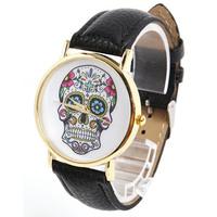 Mode wholsale ontwerp vrouwen jurk horloges quartz horloge mode schedel mannen sport horloge dames watch#l05619