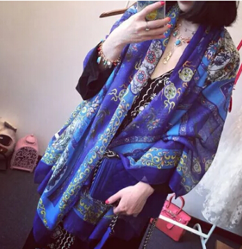 Summer sunscreen female super large blue scarf silk scarf travel trend national air conditioner cape cotton(China (Mainland))