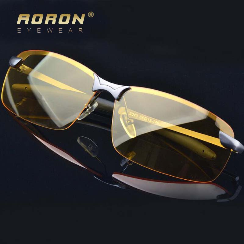 Polarized Sunglasses Night Vision Goggles men's Driving Glasses Anti-glare Gray/Black Alloy Frame glasses Yellow Lens Sunglasses(China (Mainland))