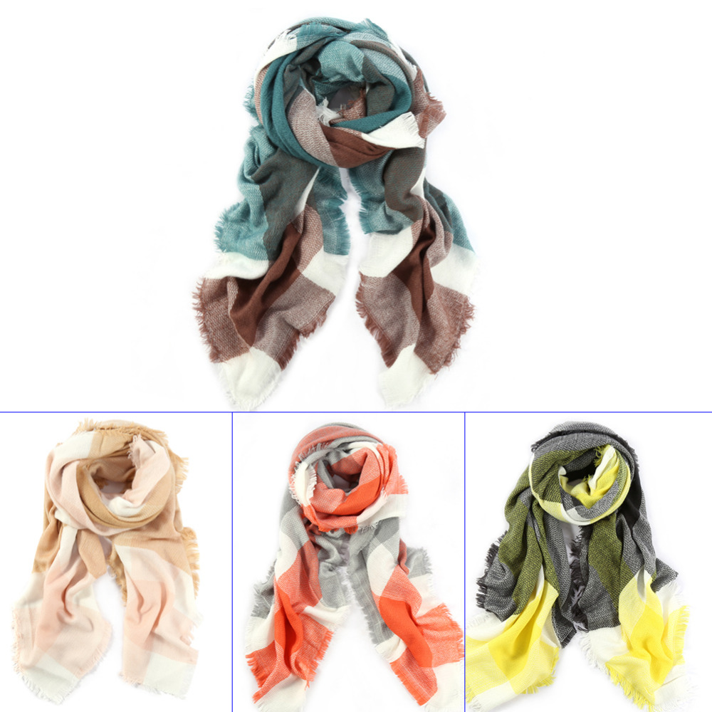 Fashion Women Scarf Oversize Cashmere-like Shawl Soft Wrap Square Scarf For Women Winter Warm Scraf Plaid Checked Cape 4 Colors(China (Mainland))