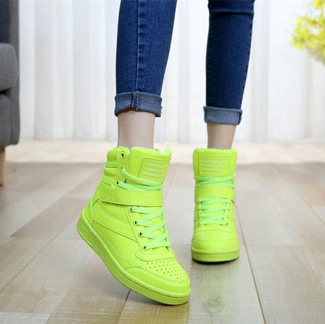 2015 Мода Высокая Топ Женщин Bigs Платформа Скрытый Увеличение Обувь Дышащая Женщин ...