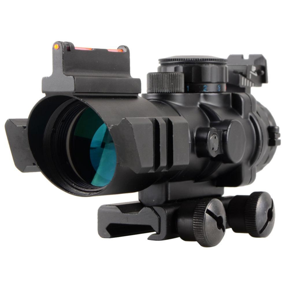 High Quality Tactical 4X32 Rifle Scope Fiber Sight & illuminated Chevron Range Recticle New VE656 T15