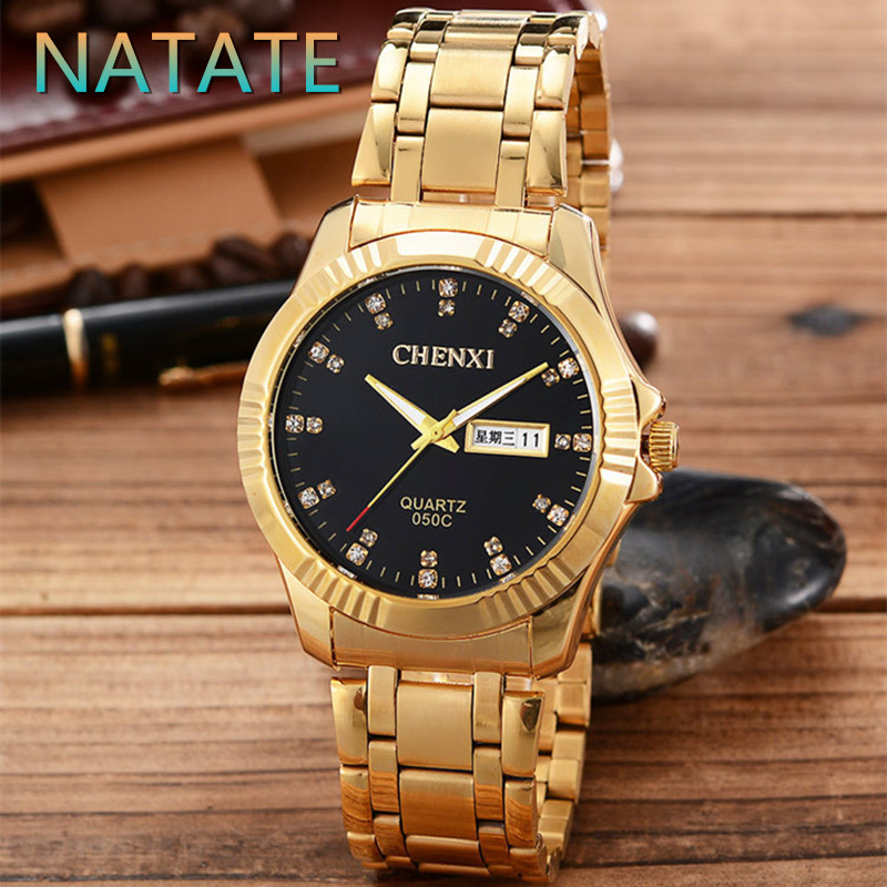 NATATE Men All gold CHENXI Luxury Business Watches Watch Slim Quartz Stainless steel waterproof The calendar Watch 2 Colors 1240