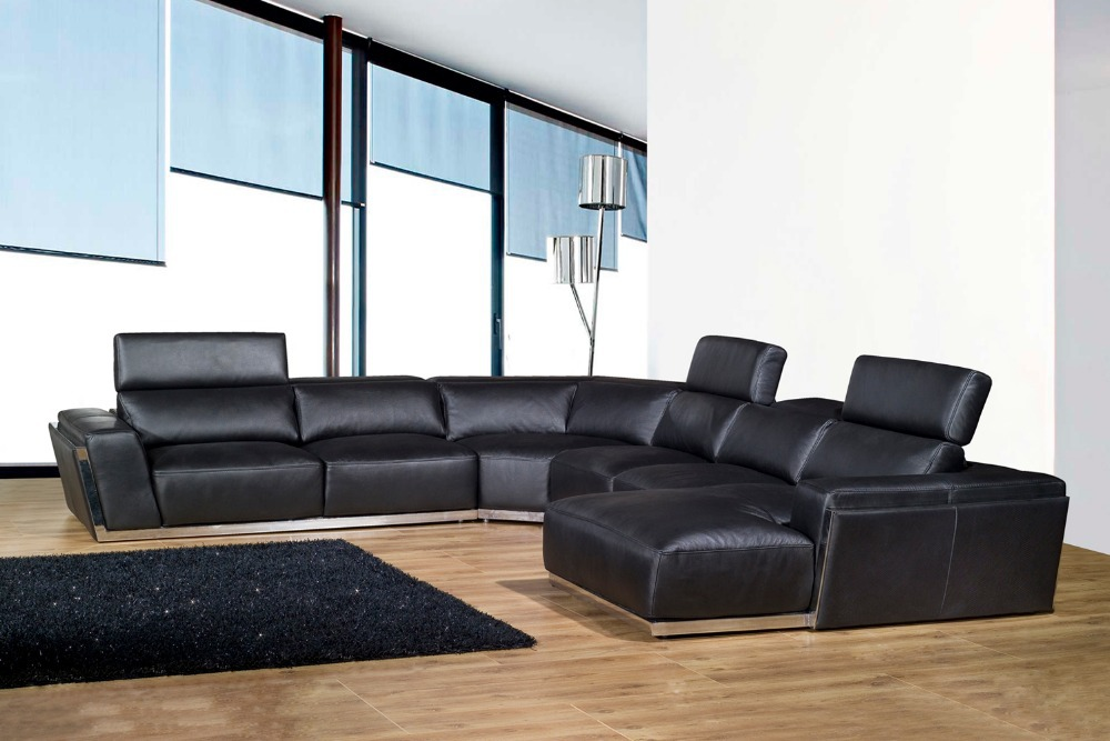 Big U shape 2015 HOT selling in Germany Living room couch modern sectional genuine leather sofa #8031 with stainless steel(China (Mainland))