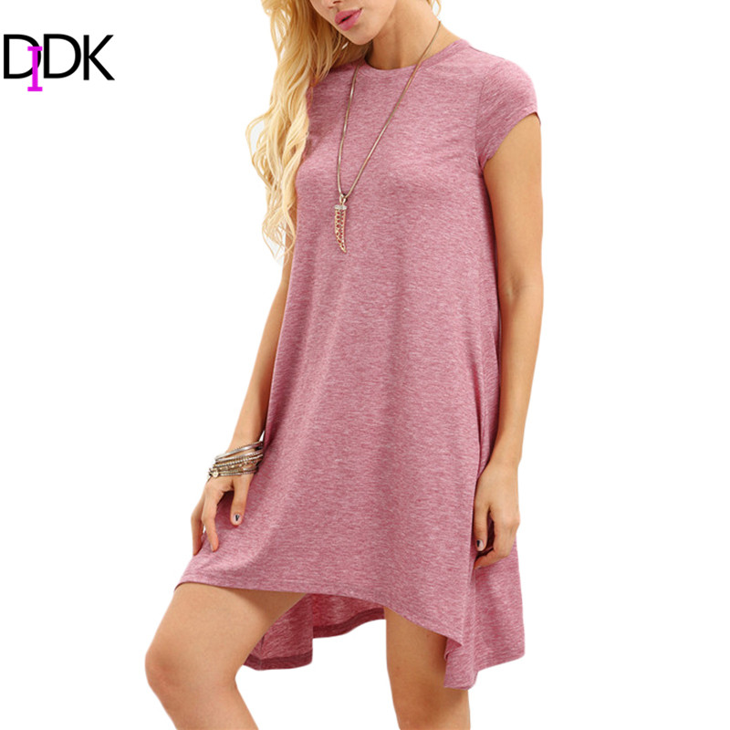 DIDK Woman Summer Plain Basic Dresses Ladies Round Neck Short Sleeve Asymmetrical Hem Casual Cotton Shift T-shirt Dress(China (Mainland))