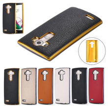 Newest G4 Luxury Plating Aluminum Frame Lychee Skin Cover For LG G4 PU Leather Slim Case For LG G4 H815 H810 H811 VS986 LS991(China (Mainland))