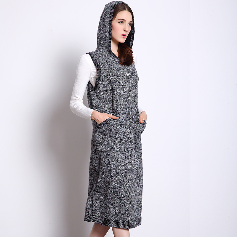NEW FASHION WOMEN HOODED VEST SWEATERS SLEEVELESS LONG PULLOVER SWEATER DRESSES WOMEN WINTER CLOTHESОдежда и ак�е��уары<br><br><br>Aliexpress