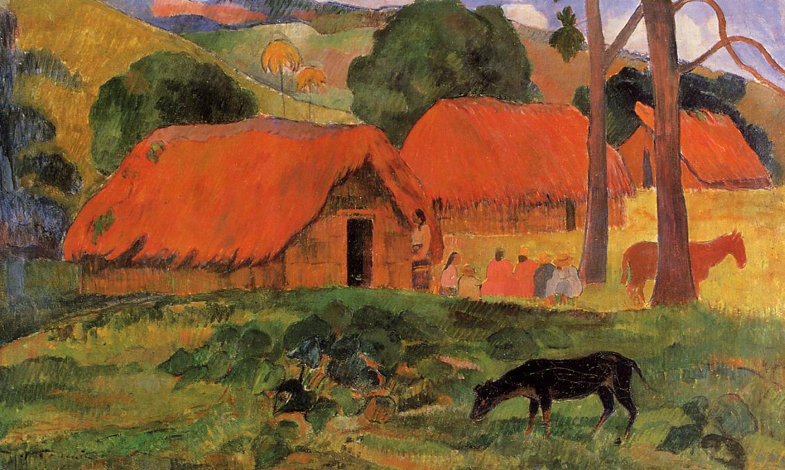 Trois huttes tahiti paul gauguin reproduction peinture for Art cuisine tahiti